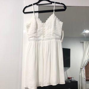 White aqua lace top dress